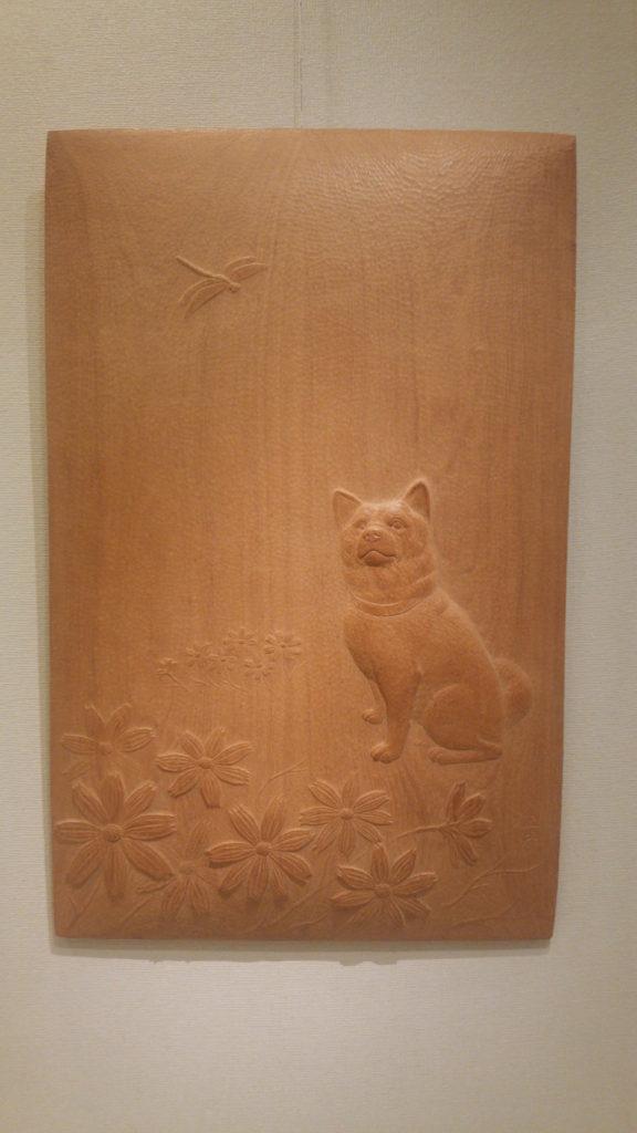 オーダーメイドの木彫レリーフ 犬