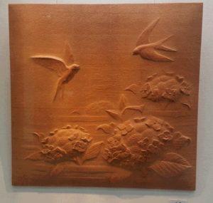 注文の木彫レリーフ アジサイ