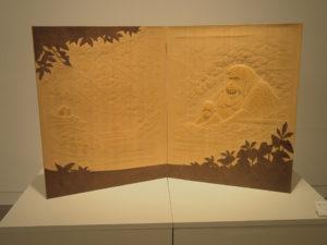 井波彫刻のオーダーメイド木彫レリーフ 屏風 オランウータン