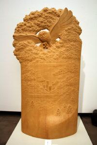 井波彫刻オーダーメイドの木彫インテリア「フクロウ」