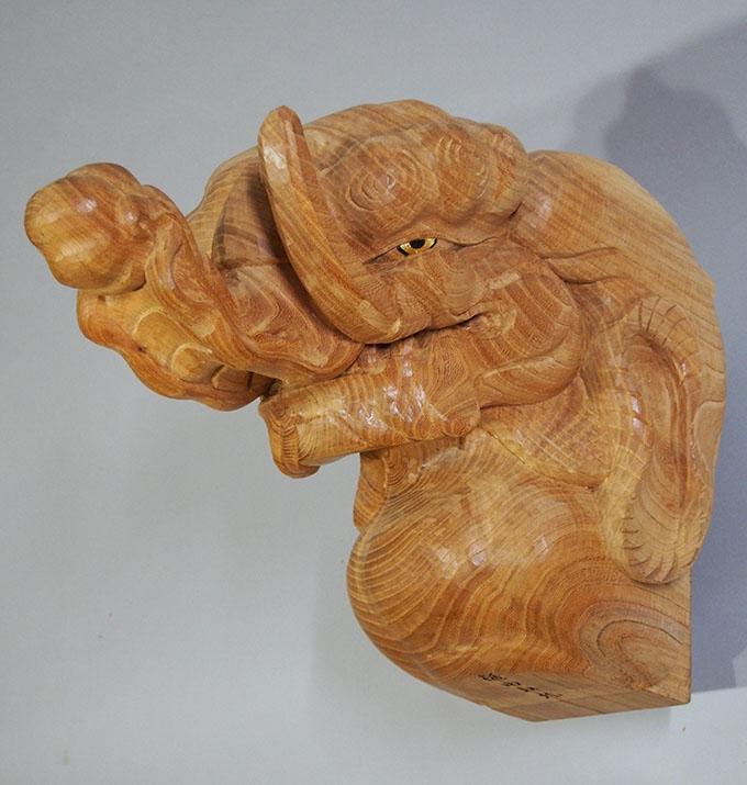 オーダーメイド制作の木彫木鼻 象
