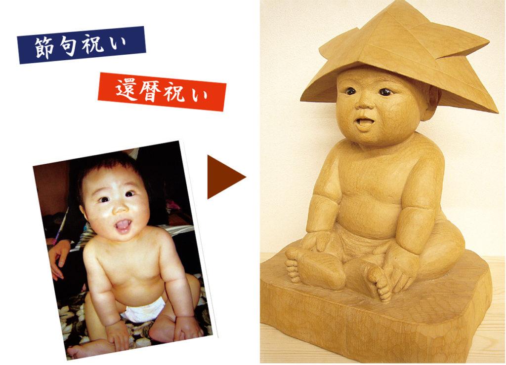 受注制作オリジナル木彫そっくり節句人形