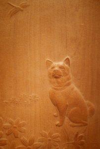 注文の木彫レリーフ 犬