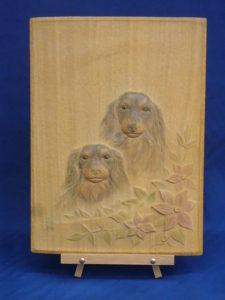 注文制作で作った木彫レリーフ 犬