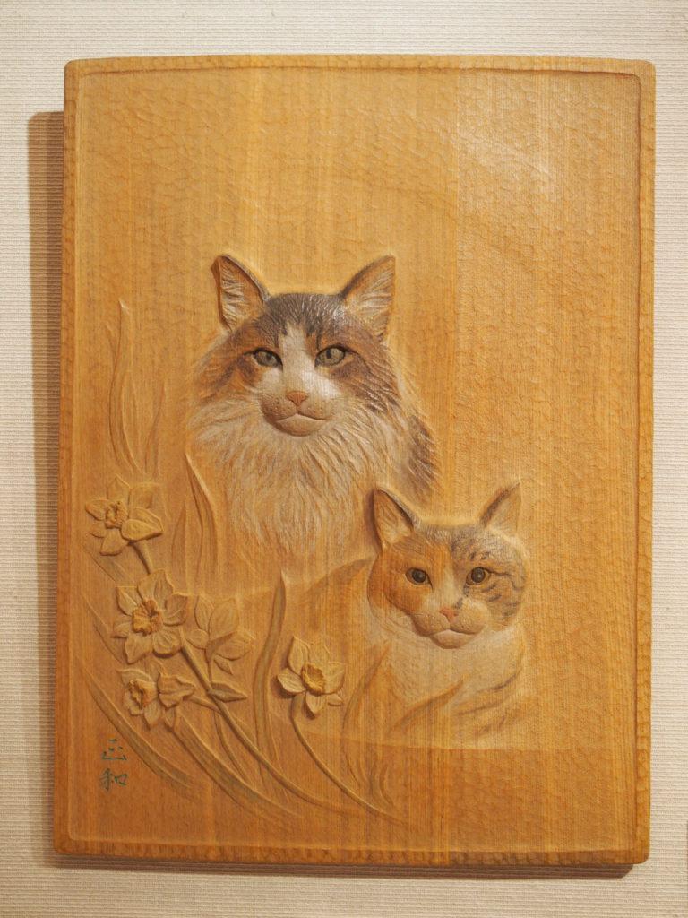 オーダーメイドのそっくり木彫レリーフ猫