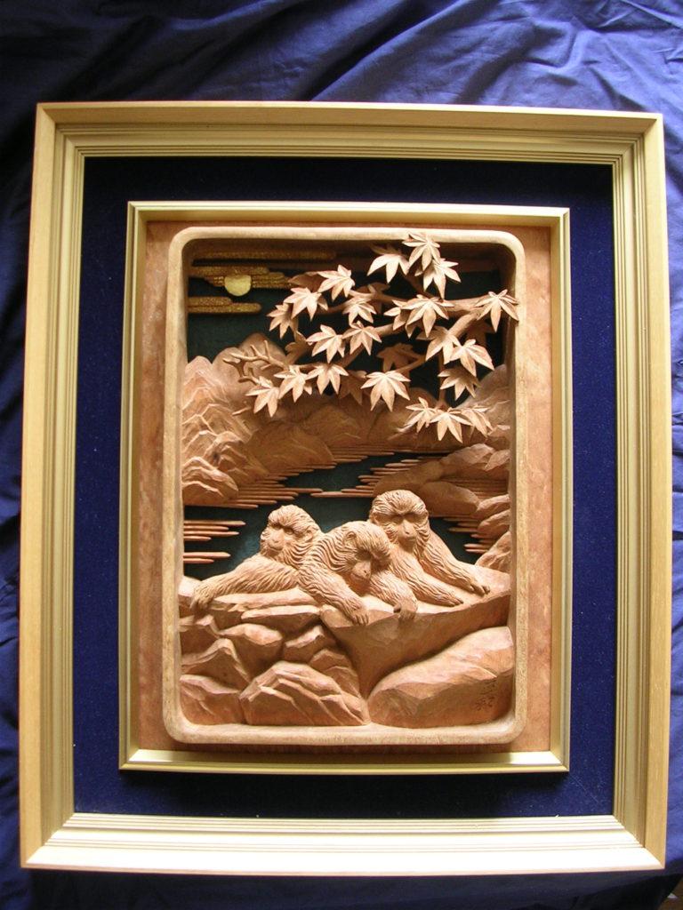 オーダーメイドの井波彫刻壁掛け猿