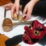 井波彫刻の鬼滅の刃の木彫り人形、オーダーメイドの炭治郎と禰豆子